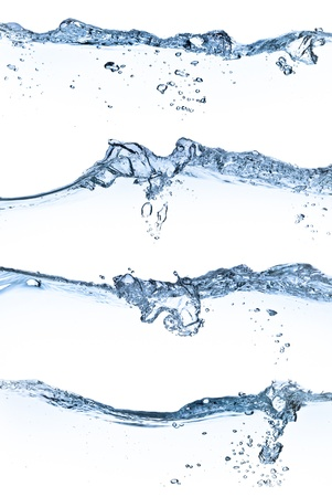 fluidity: set of splashing water with bubbles on white background