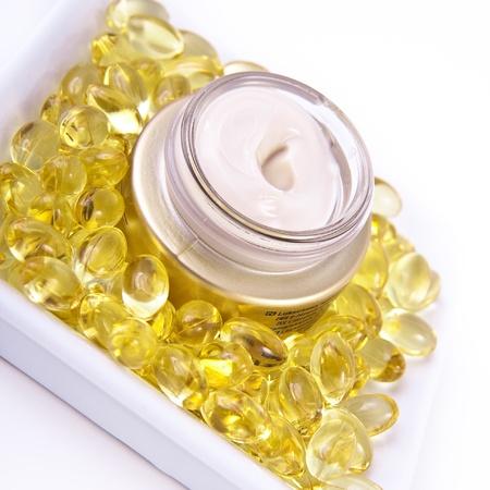 nourishing: nourishing cream with omega acids Stock Photo