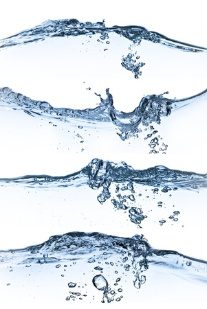 set of splashing water with bubbles on white background photo
