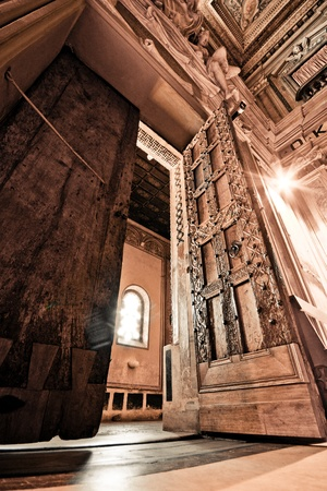 high ceiling: interior architecture design of church, Italy