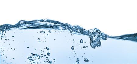 frozen waves: splashing water with bubbles shot on white background Stock Photo