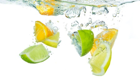 with lemon: citrus fruit splashing isolated on white background Stock Photo