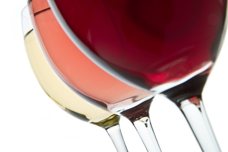 three glasses with white, rose and red wine Stock Photo - 9824600