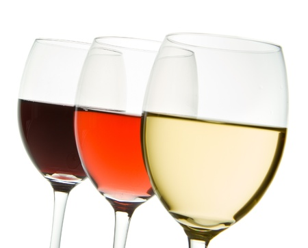 three glasses with white, rose and red wine Stock Photo - 10137301