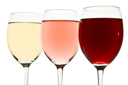 three glasses with white, rose and red wine Stock Photo - 10137305