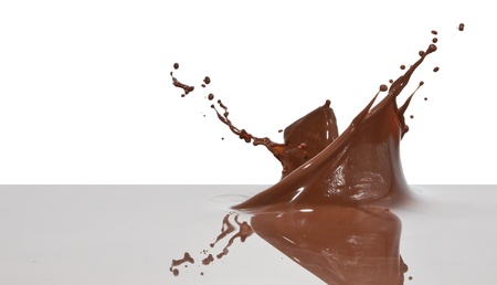 chocolate splash closeup isolated on white background photo