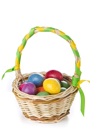 colorful easter eggs in basket isolated photo