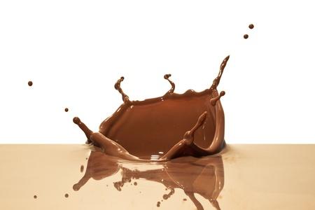 chocolate splash closeup isolated on white background photo