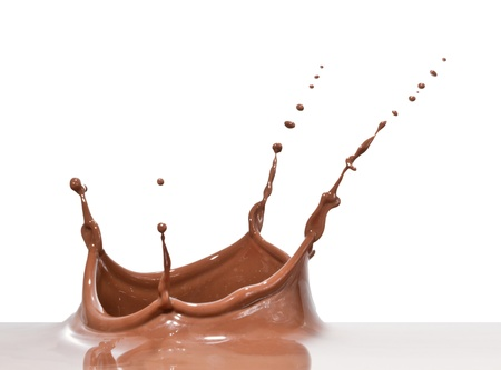 eating chocolate: chocolate splash closeup isolated on white background Stock Photo