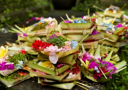 offerings to gods in hindu temple, Bali, Indonesia Stock Photo