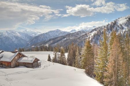 wintersport: wooden cabin in winter alps