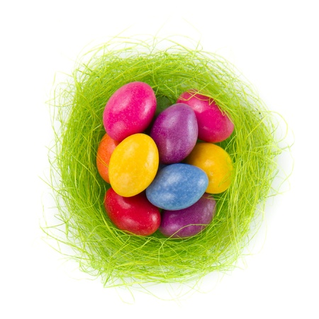 colorful easter eggs in nest isolated photo