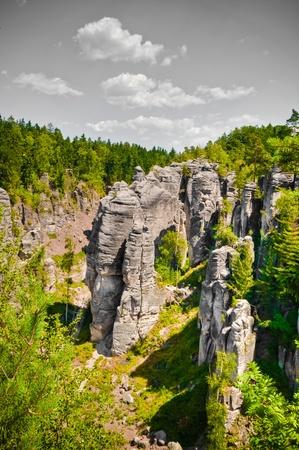 Cesky raj sandstone cliffs - Prachovske skaly, Czech Republic Stock Photo - 10352775