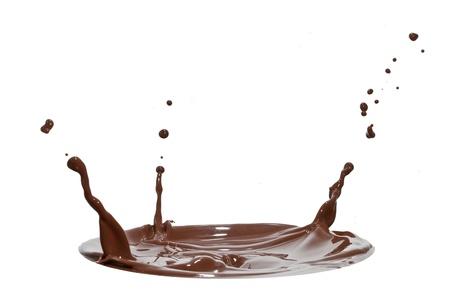 chocolate splash closeup isolated on white background Stock Photo