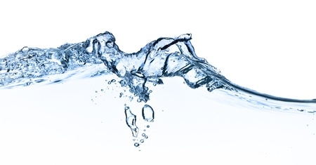 splashing water with bubbles shot on white background photo