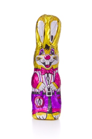 chocolate easter bunny isolated on white Stock Photo
