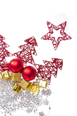 christmas decoration with trees and balls isolated on white background photo