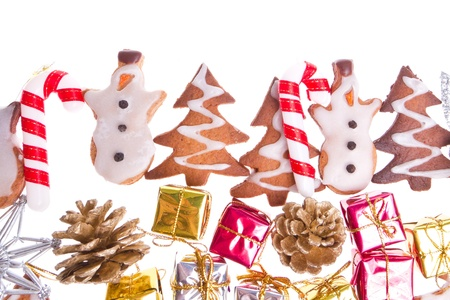 ginger snowmen with christmas decoration isolated Stock Photo - 11678491