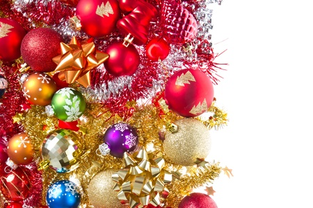 background made of christmas balls and tinsel Stock Photo - 11836560