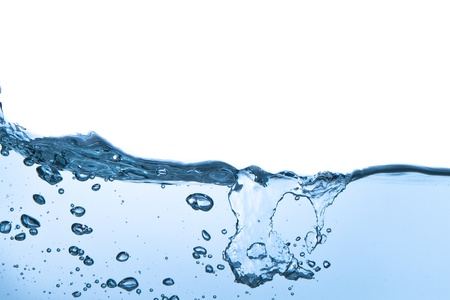splashing water with bubbles shot on white background