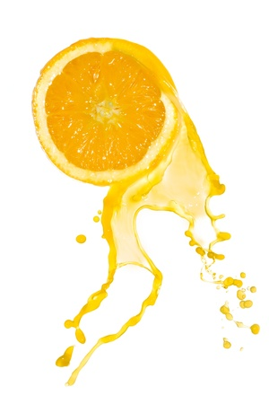 orange slices: orange juice splash isolated on white background