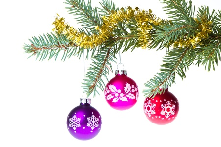 decorated christmas branch isolated on white background Stock Photo - 11847657
