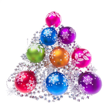 christmas balls with tinsel isolated on white background Stock Photo - 11847689