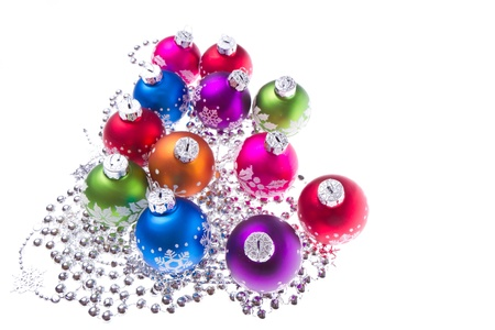 christmas balls with tinsel isolated on white background Stock Photo - 11847294