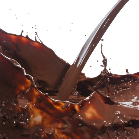 dark chocolate: splash of chocolate isolated on white background