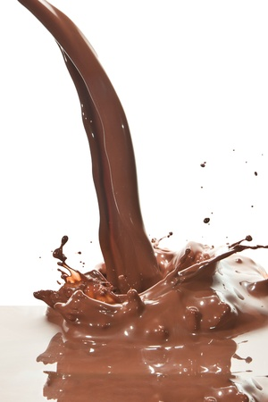 splash of chocolate isolated on white background photo