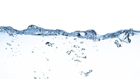 splashing water with bubbles shot on white background Stock Photo
