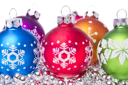 christmas balls with tinsel isolated on white background Stock Photo - 11947303