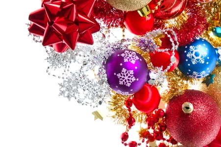 background made of christmas balls and tinsel Stock Photo - 11947112