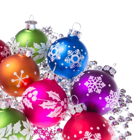 christmas balls with tinsel isolated on white background Stock Photo - 12033272