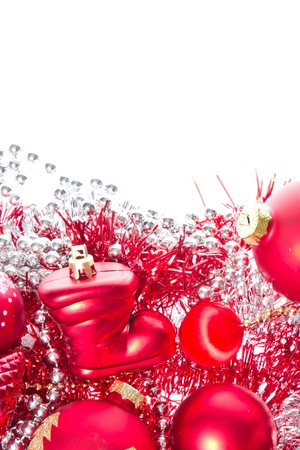 background made of christmas balls and tinsel photo