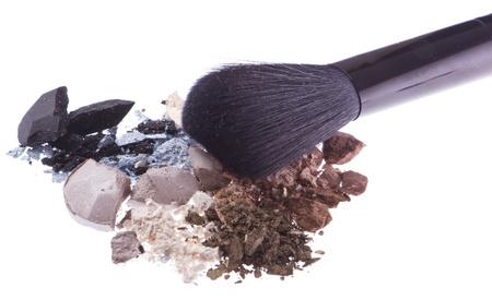 crushed eyeshadows with brush isolated on white background Stock Photo - 12306619