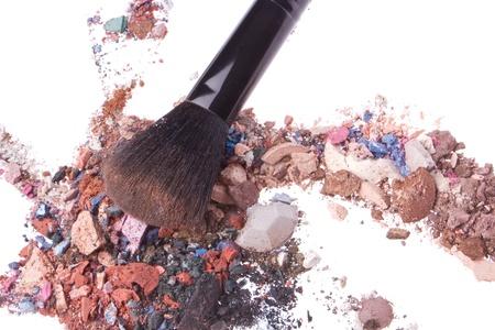 crushed eyeshadows mixed with brush isolated on white background Stock Photo - 12306688