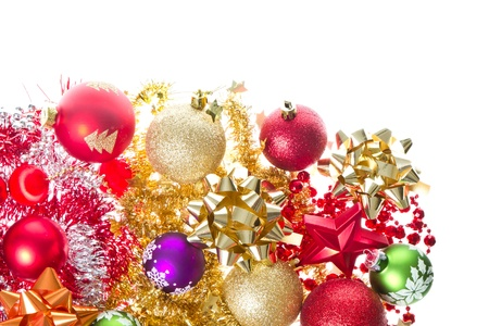 background made of christmas balls and tinsel Stock Photo - 12306704