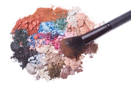crushed eyeshadows with brush isolated on white background Stock Photo - 12306679