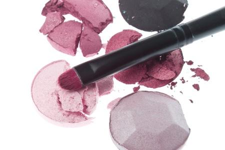 multicolored crushed eyeshadows with brush isolated on white background Stock Photo - 12306620
