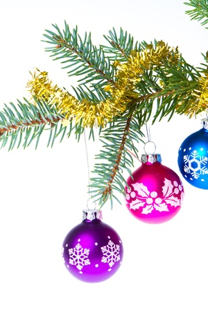 decorated christmas branch isolated on white background photo