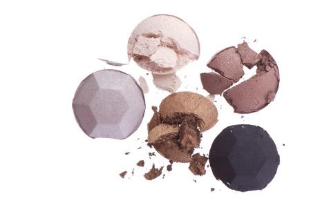 eyemakeup: multicolored crushed eyeshadows isolated on white background Stock Photo