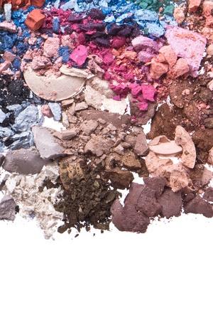 multicolor crushed eyeshadows isolated on white background photo