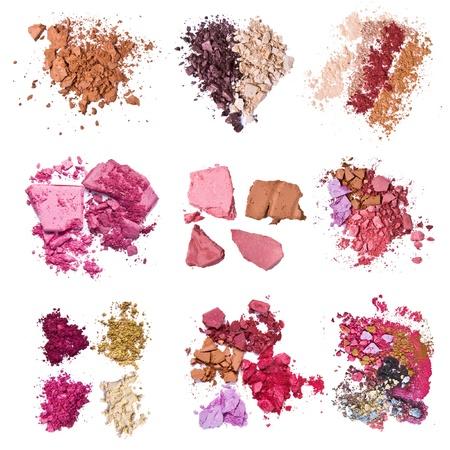 blusher: set of various crushed eyeshadows Stock Photo