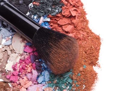 crushed eyeshadows with brush isolated on white background Stock Photo - 12396996