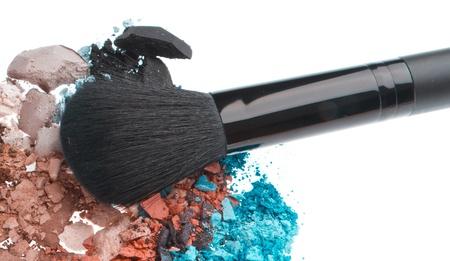 set of multicolor crushed eyeshadows isolated on white background Stock Photo - 12413201