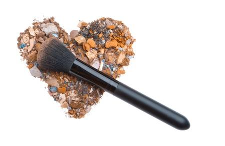 heart shaped crushed eyeshadows with brush Stock Photo - 12413112