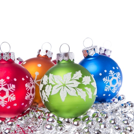 christmas balls with tinsel isolated on white background Stock Photo - 12413131