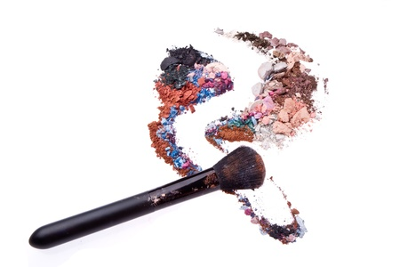 crushed eyeshadows mixed with brush isolated on white background Stock Photo - 12413083