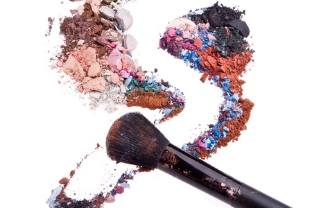 crushed eyeshadows mixed with brush isolated on white background Stock Photo - 12413144